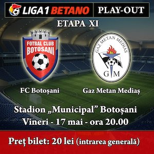 bilete FC Botosani - Gaz Metan Medias - Liga 1 Betano