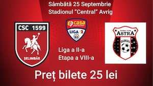 Bilete la  CSC 1599 Selimbar - Astra Giurgiu
